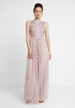 HIGH NECK EMBELLISHED DRESS WITH DETAIL - Galajurk - frosted pink