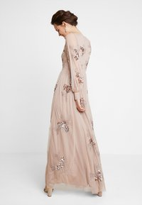 Maya Deluxe - PLUNGE FRONT ALL OVEREMBELLISHED MAXI DRESS WITH SPLIT - Ballkjole - taupe blush - 2