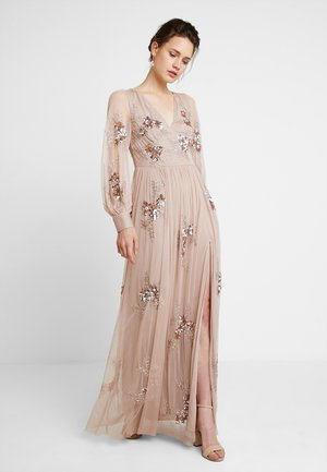 PLUNGE FRONT ALL OVEREMBELLISHED MAXI DRESS WITH SPLIT - Iltapuku - taupe blush