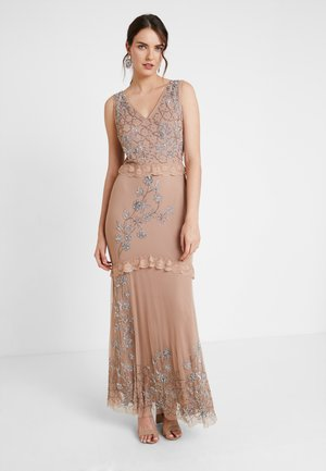 V NECK MAXI DRESS WITH PLACEMENT EMBELLISHMENT AND DETAILING - Galajurk - taupe blush