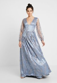 Maya Deluxe - STAR GLITTER MAXI DRESS WITH BISHOP SLEEVES AND OPEN BACK - Ballkjole - blue/multi - 2