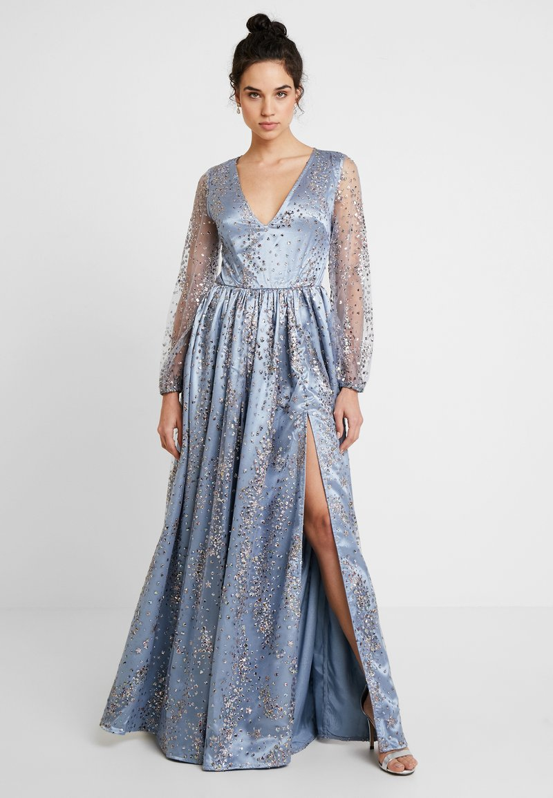 Maya Deluxe - STAR GLITTER MAXI DRESS WITH BISHOP SLEEVES AND OPEN BACK - Ballkjole - blue/multi