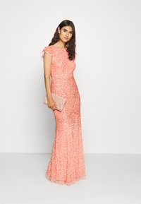 Maya Deluxe - ALL OVER EMBELLISHED DRESS - Iltapuku - coral - 1
