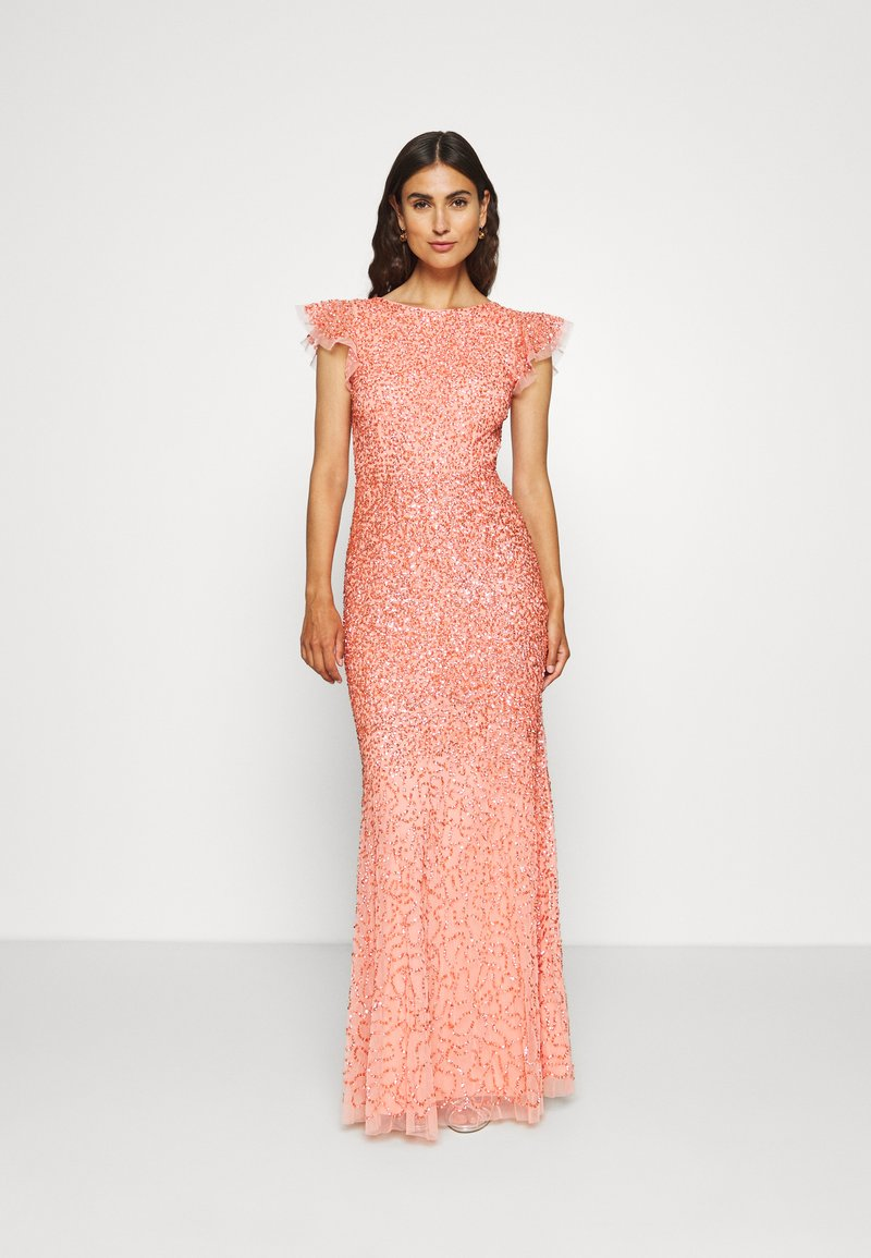 Maya Deluxe - ALL OVER EMBELLISHED DRESS - Iltapuku - coral