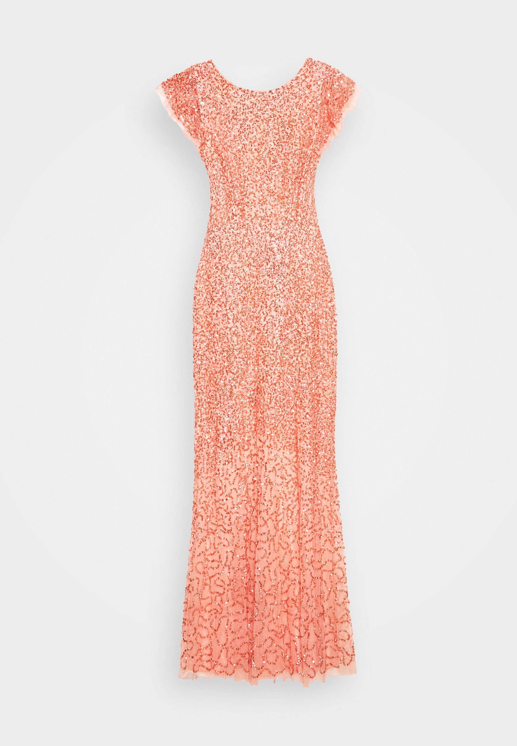 Maya Deluxe All Over Embellished Maxi Dress - Festklänning Coral