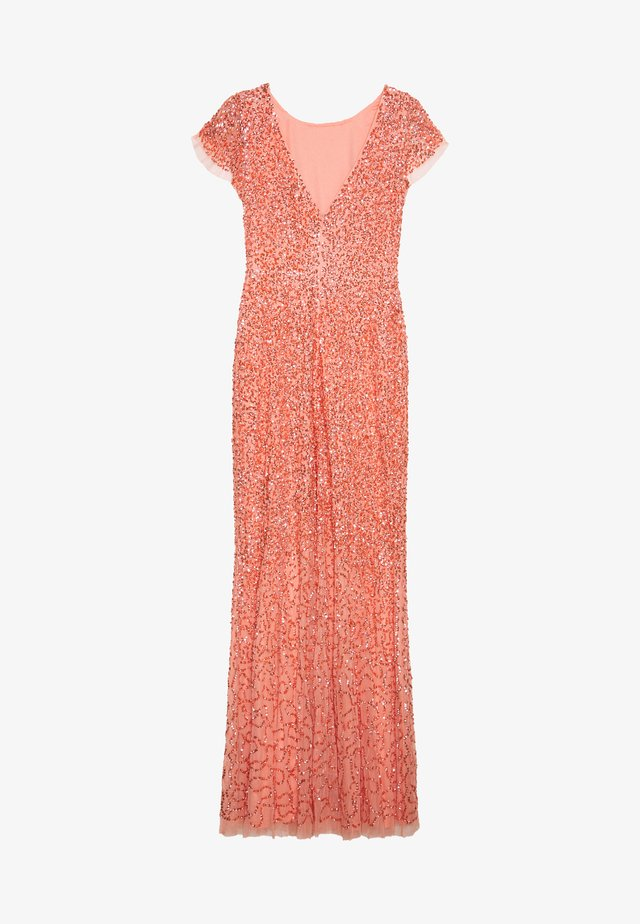 ALL OVER EMBELLISHED MAXI DRESS - Occasion wear - coral