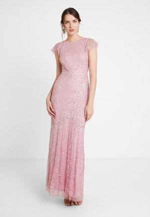 ALL OVER EMBELLISHED MAXI DRESS WITH FLUTTER SLEEVE - Occasion wear - pink