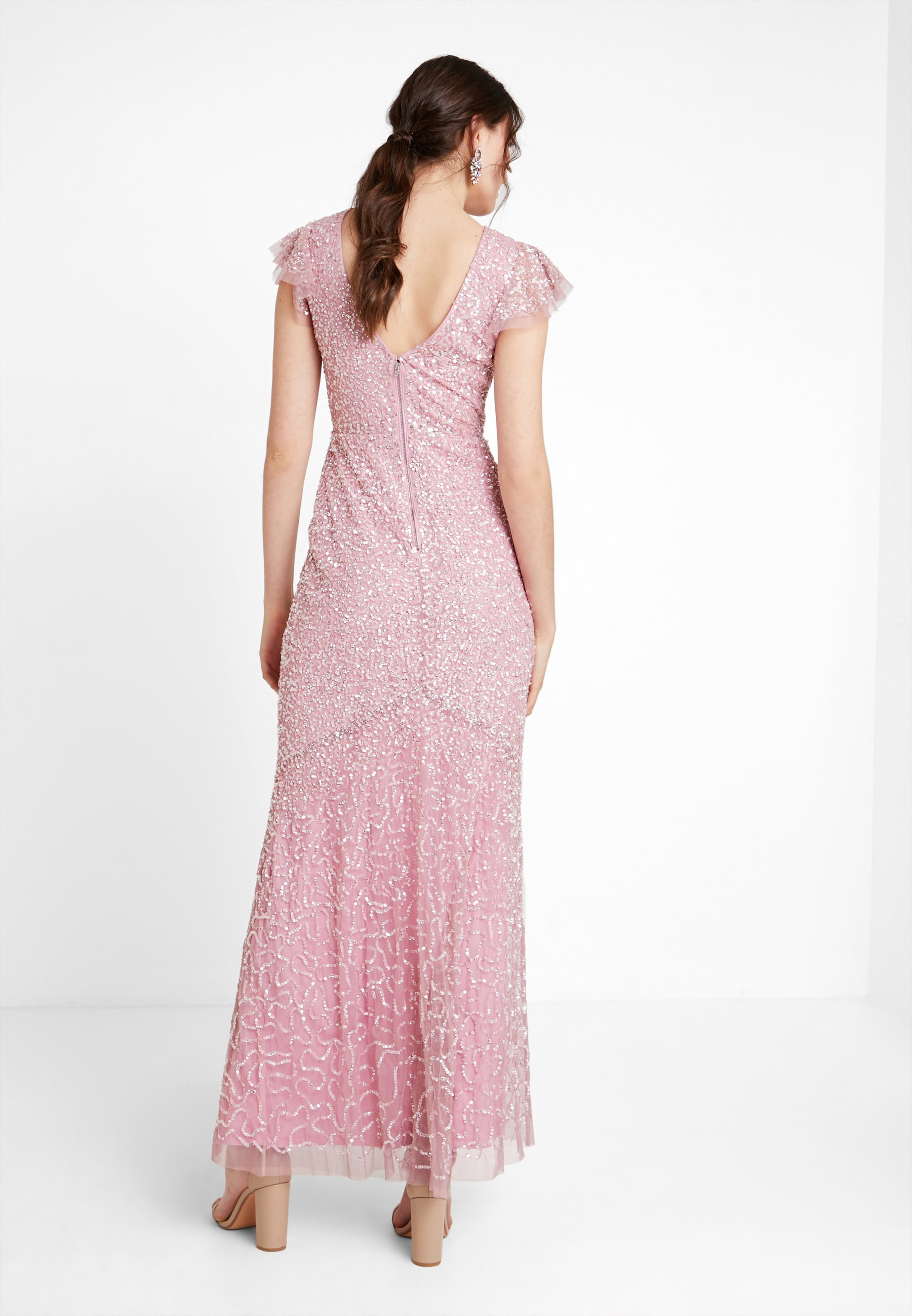 All With Flutter Da Over Embellished Pink Maxi SleeveAbito Sera Deluxe Maya Dress XiZOkPu