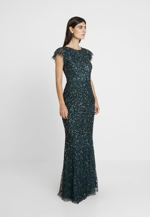 ALL OVER EMBELLISHED MAXI DRESS WITH FLUTTER SLEEVE - Galajurk - emerald