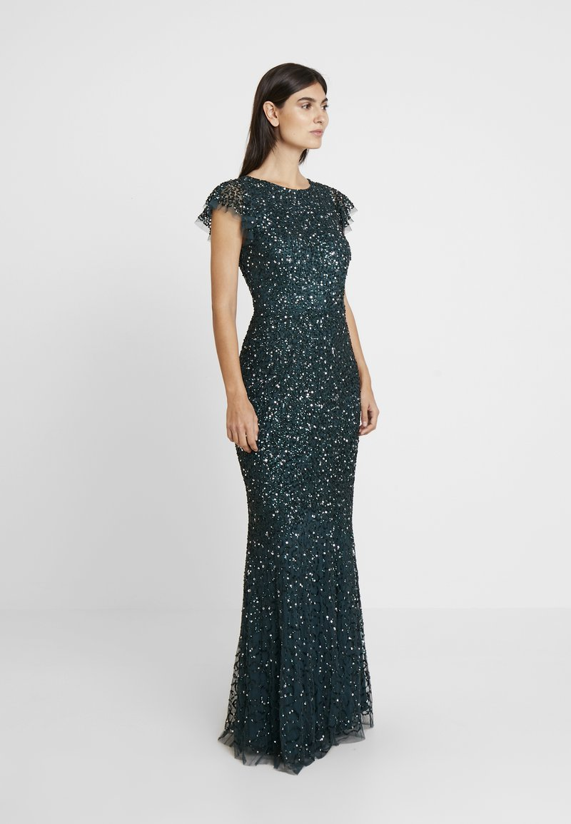 Maya Deluxe - ALL OVER EMBELLISHED MAXI DRESS WITH FLUTTER SLEEVE - Occasion wear - emerald
