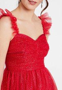 Maya Deluxe - GLITTER MAXI DRESS WITH RUFFLE SLEEVE - Společenské šaty - red/gold - 7