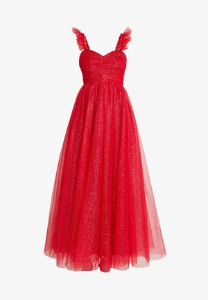 GLITTER MAXI DRESS WITH RUFFLE SLEEVE - Ballkjole - red/gold