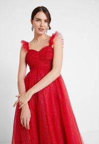 Maya Deluxe - GLITTER MAXI DRESS WITH RUFFLE SLEEVE - Společenské šaty - red/gold - 4