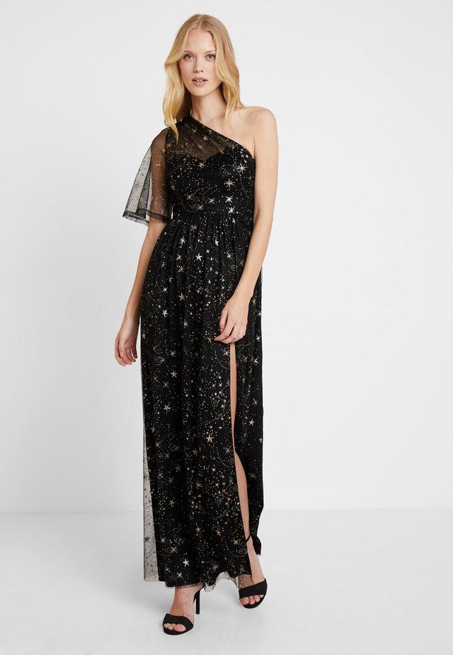 ONE SHOULDER STAR DRESS WITH THIGH SPLIT - Iltapuku - black/gold