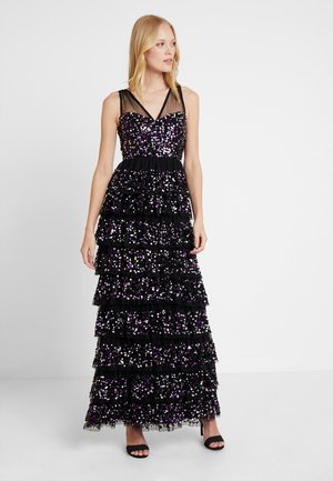 TIERED EMBELLISHED MAXI WITH CONTRAST SEQUIN - Robe de cocktail - black/multi