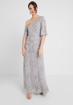 ASYMMETRIC SHOULDER MAXI DRESS WITH ALL OVER PLACEMENT EMBELLISHM - Iltapuku - grey