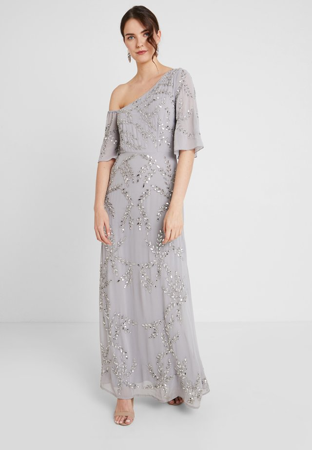ASYMMETRIC SHOULDER MAXI DRESS WITH ALL OVER PLACEMENT EMBELLISHM - Festklänning - grey