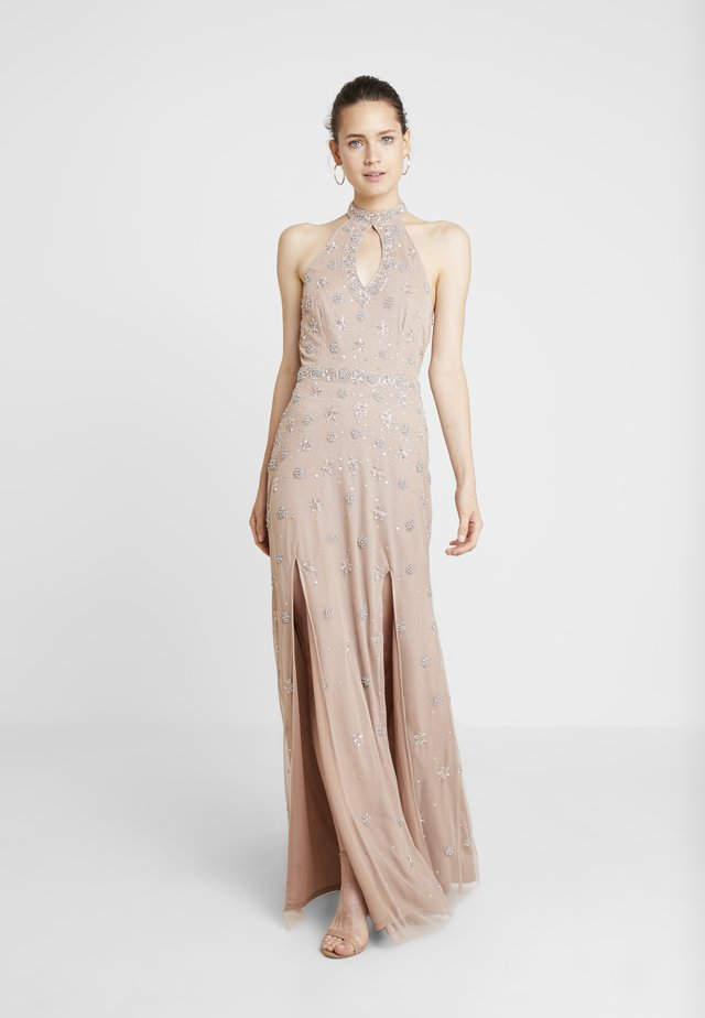 HIGH NECK BEADED MAXI DRESS WITH DOUBLE THIGH SPLIT - Iltapuku - taupe blush