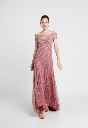 EMBELLISHED BARDOT SPOT DRESS WITH CLUSTER SEQUINS - Robe de cocktail - rose pink