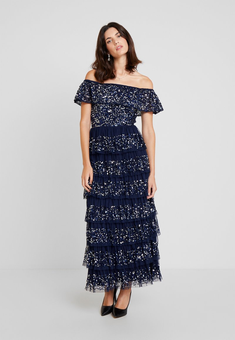 Maya Deluxe - ALL OVER EMBELLISHED TIERED BARDOT MIDAXI DRESS - Ballkleid - navy