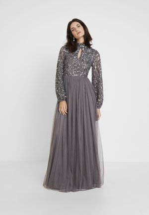 BISHOP SLEEVE DELICATE SEQUIN MAXI DRESS WITH KEYHOLE - Iltapuku - charcoal