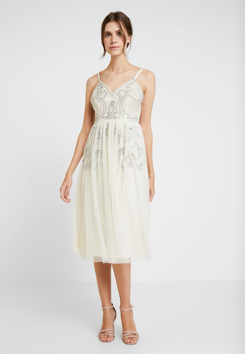 Maya Deluxe - EMBELLISHED CAMIMIDI DRESS - Cocktailkjole - offwhite