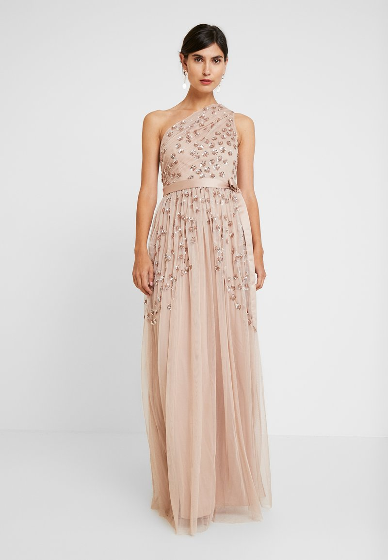 Maya Deluxe - ONE SHOULDER EMBELLISHED DRESS WITH SASH TIE BELT - Ballkleid - taupe blush