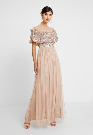 SHEER YOKE EMBELLISHED DOUBLE RUFFLE DRESS - Robe de cocktail - taupe blush