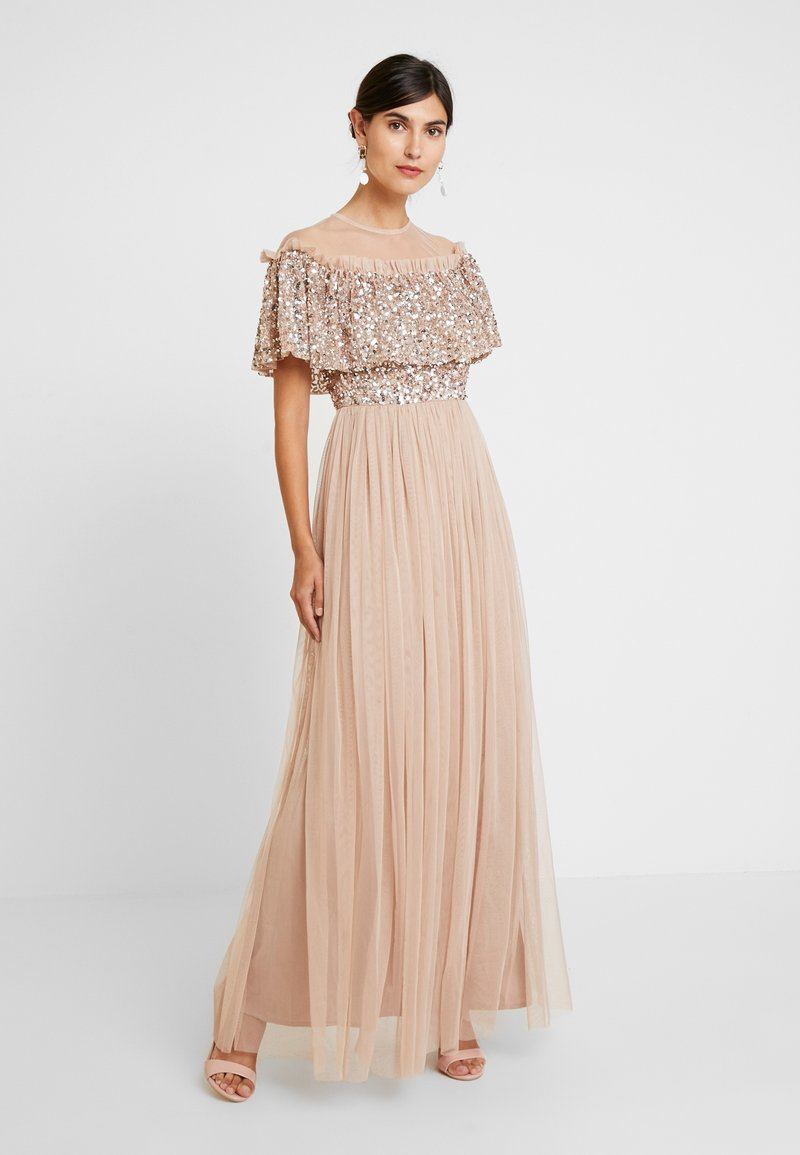 Maya Deluxe - SHEER YOKE EMBELLISHED DOUBLE RUFFLE DRESS - Occasion wear - taupe blush