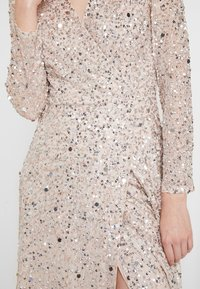 Maya Deluxe - ALL OVER HEAVILY EMBELLISHED WRAP LONG SLEEVE MAXI DRESS - Galajurk - nude - 5