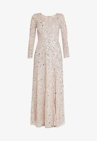 Maya Deluxe - ALL OVER HEAVILY EMBELLISHED WRAP LONG SLEEVE MAXI DRESS - Galajurk - nude - 4