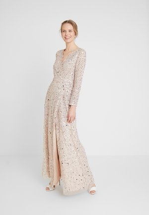 ALL OVER HEAVILY EMBELLISHED WRAP LONG SLEEVE MAXI DRESS - Festklänning - nude