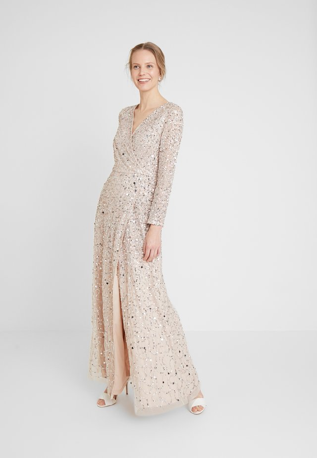 ALL OVER HEAVILY EMBELLISHED WRAP LONG SLEEVE MAXI DRESS - Ballkjole - nude
