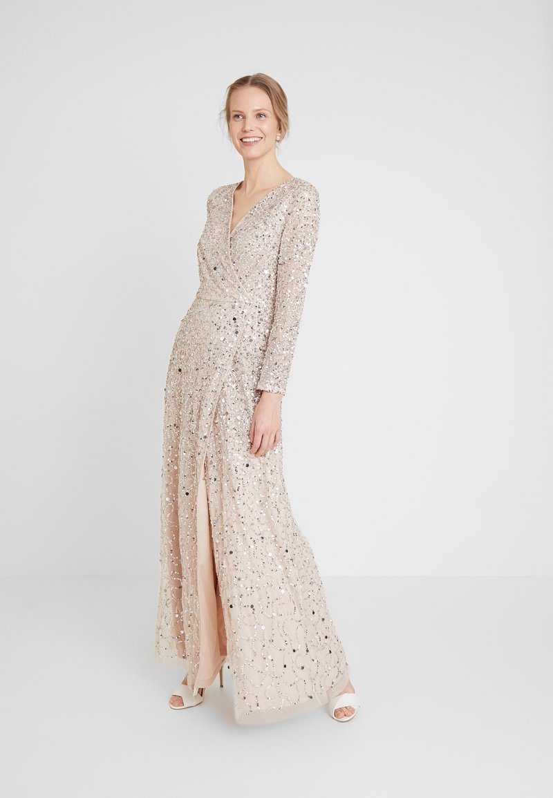 Maya Deluxe - ALL OVER HEAVILY EMBELLISHED WRAP LONG SLEEVE MAXI DRESS - Galajurk - nude