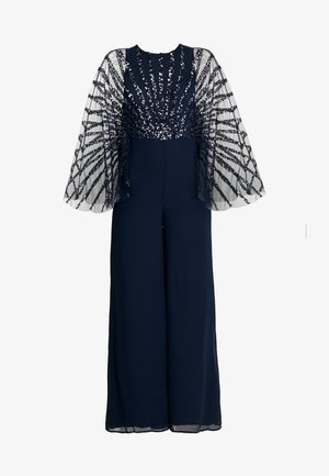 STRIPE EMBELLISHED WITH CAPE SLEEVES - Overal - navy
