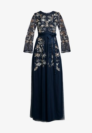 CONTRAST EMBELLISHED MAXI DRESS WITH FLUTED SLEEVES - Abito da sera - navy