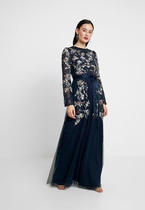 CONTRAST EMBELLISHED MAXI DRESS WITH FLUTED SLEEVES - Vestido de fiesta - navy