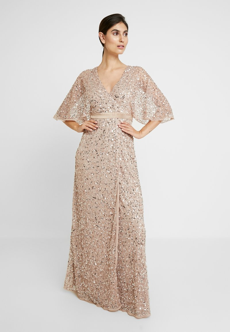 Maya Deluxe - KIMONO SLEEVE ALL OVER DELICATE SEQUIN MAXI DRESS - Iltapuku - taupe blush