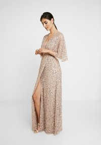Maya Deluxe - KIMONO SLEEVE ALL OVER DELICATE SEQUIN MAXI DRESS - Iltapuku - taupe blush - 2