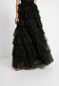 Maya Deluxe - GLITTER BARDOT MAXI DRESS WITH TIERED SKIRT - Iltapuku - black - 4