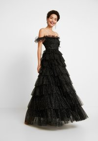 Maya Deluxe - GLITTER BARDOT MAXI DRESS WITH TIERED SKIRT - Iltapuku - black - 0