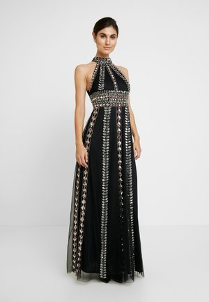 EMBELLISHED HIGH NECK MAXI DRESS - Vestido de fiesta - black/multi