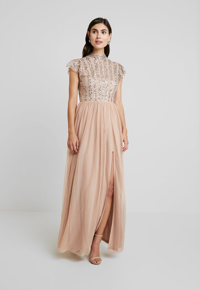 HIGH NECK MAXI DRESS WITH SPLIT - Suknia balowa - taupe blush