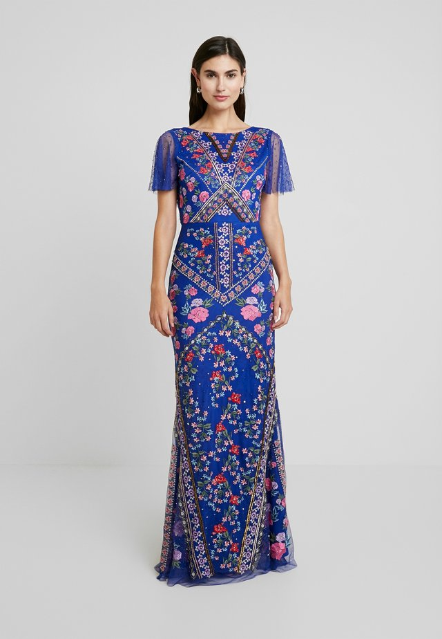 ALL OVER EMBROIDERED FLORAL MAXI DRESS - Společenské šaty - cobalt/multi