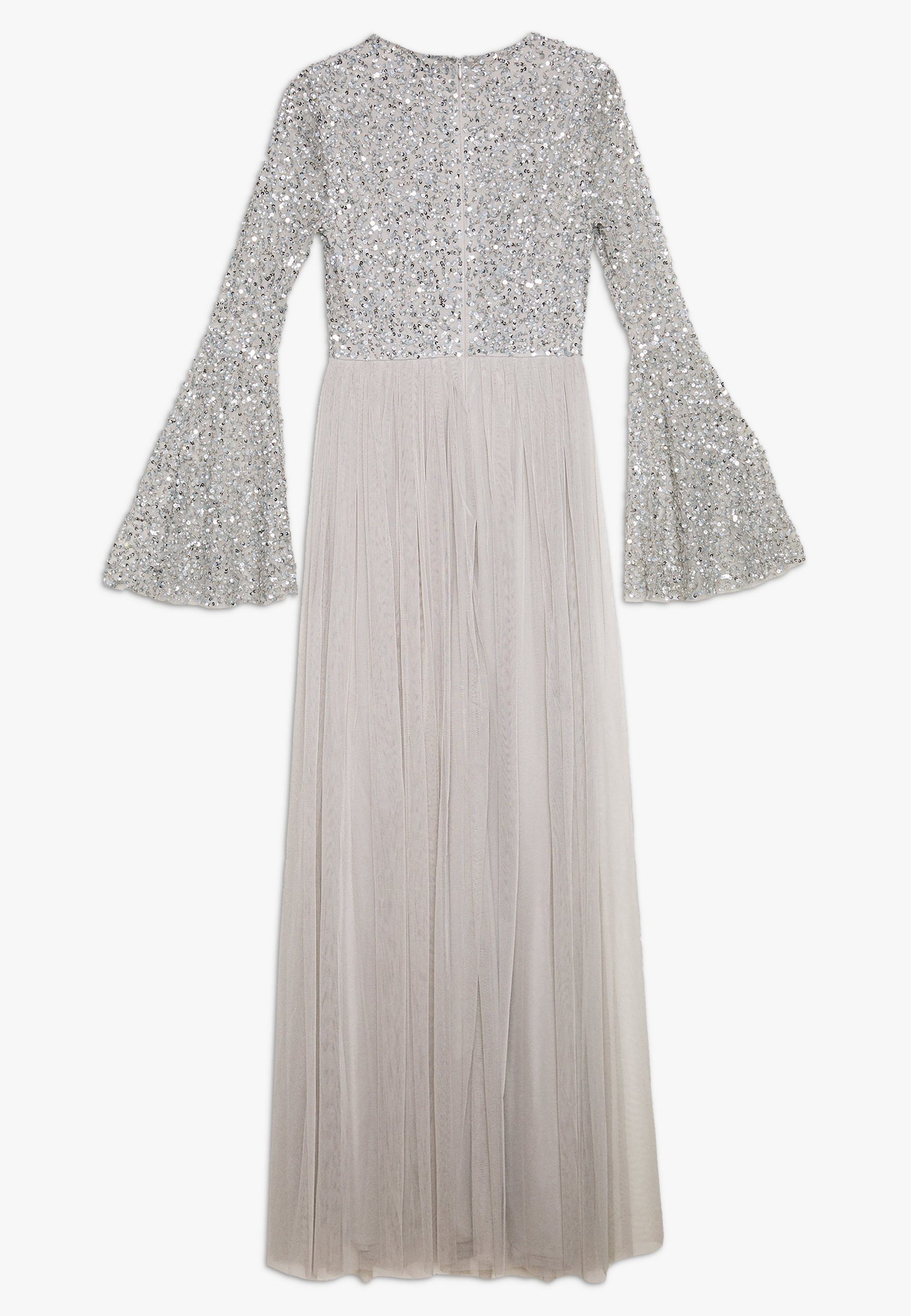 Maya Deluxe Round Neck Delicate Sequin Bell Sleeve Maxi Dress With Ski - Festklänning Soft Grey 3lwglAL