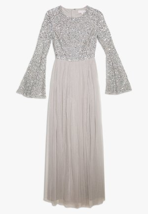 ROUND NECK DELICATE SEQUIN BELL SLEEVE MAXI DRESS WITH SKI - Iltapuku - soft grey