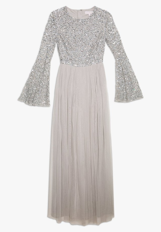 ROUND NECK DELICATE SEQUIN BELL SLEEVE MAXI DRESS WITH SKI - Festklänning - soft grey