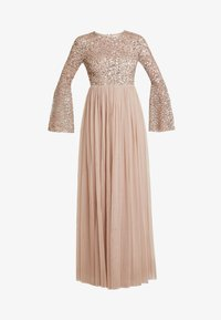 Maya Deluxe - ROUND NECK DELICATE SEQUIN BELL SLEEVE MAXI DRESS WITH SKI - Iltapuku - taupe blush - 5