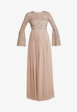 ROUND NECK DELICATE SEQUIN BELL SLEEVE MAXI DRESS WITH SKI - Galajurk - taupe blush