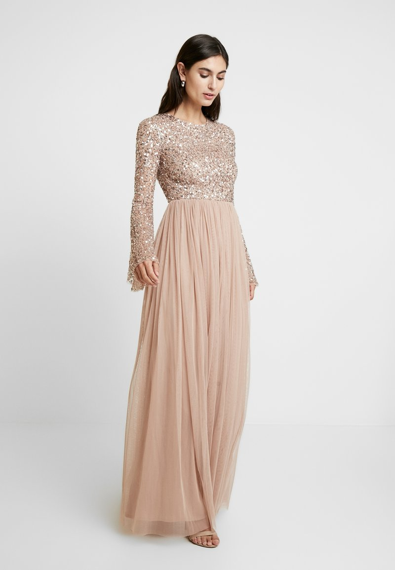 Maya Deluxe - ROUND NECK DELICATE SEQUIN BELL SLEEVE MAXI DRESS WITH SKI - Iltapuku - taupe blush